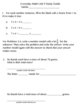 3rd Grade Everyday Math (2015) Unit 9 Study Guide/Pretest