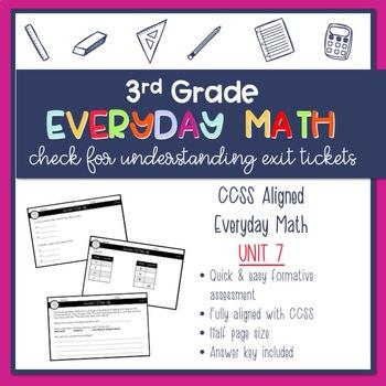 3rd Grade Everyday Math Exit Slips (Unit 7)