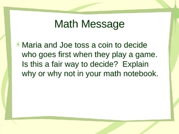 3rd Grade Everyday Math Lesson for 4.10 Coin Toss Experiment