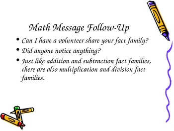 3rd Grade Everyday Math Lesson for 4.6 Fact Families