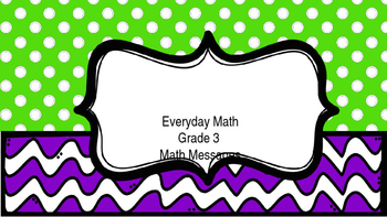3rd Grade Everyday Math Math Messages