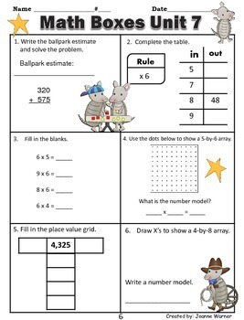 3rd Grade Everyday Math Review ~ Unit 7 Multipication & Division