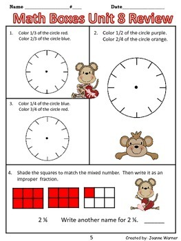 3rd Grade Everyday Math Review ~ Unit 8 Fractions