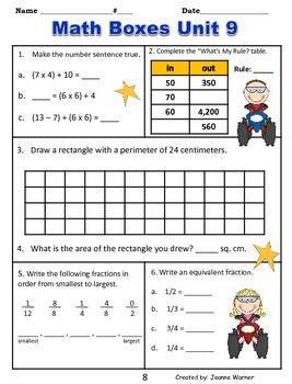 3rd Grade Everyday Math Review ~ Unit 9 Multipication & Division