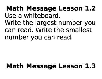 3rd Grade Everyday Math Unit 1 Math Messages