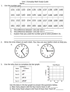 3rd Grade Everyday Math Unit 1:Math tools, time and mult. Study Guide/Pretest