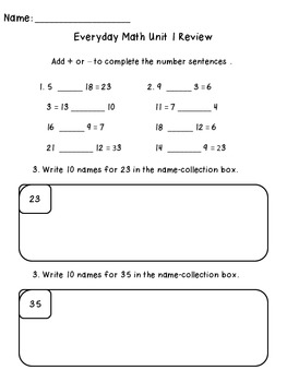 3rd Grade Everyday Math Unit 1 Review
