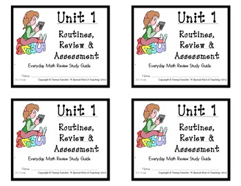 3rd Grade Everyday Math: Unit 1- Routines, Review and Assessment Study Guide