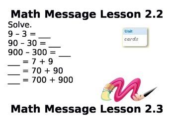 3rd Grade Everyday Math Unit 2 Math Messages