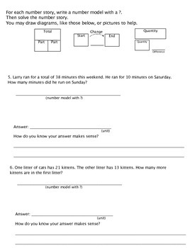 3rd Grade Everyday Math Unit 2:Number Stories Study Guide/Pretest