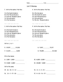 3rd Grade Everyday Math Unit 5 Review - Same Format as Test