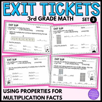 3rd Grade Exit Slips #3- I Can Use Properties to Learn Multiplication Facts