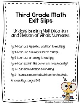 3rd Grade Exit Slips #1-I Can Understand Multiplication & Division of Numbers