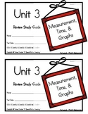 3rd Grade Expressions Math: Unit 3 Review Study Guide- Measurement, Time &Graphs