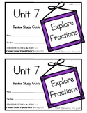 3rd Grade Expressions Math: Unit 7 Review Study Guide- Explore Fractions