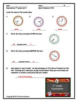 3rd Grade Expressions Unit 3 Quizzes