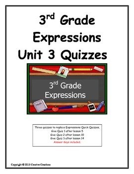 3rd Grade Expressions Unit 3 Quizzes