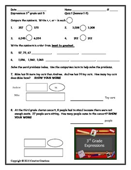 3rd Grade Expressions Unit 5 Quizzes