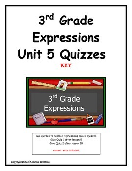 3rd Grade Expressions Unit 5 Quizzes