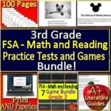 3rd Grade FSA Test Prep Math AND Reading BUNDLE Practice and Games