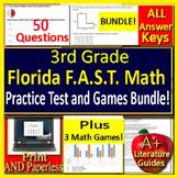 3rd Grade FSA Math Test Prep + Games Bundle Print + SELF-GRADING GOOGLE FORMS!