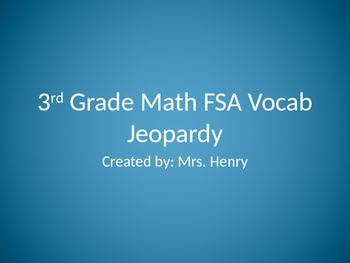 3rd Grade FSA Math Vocabulary Jeopardy