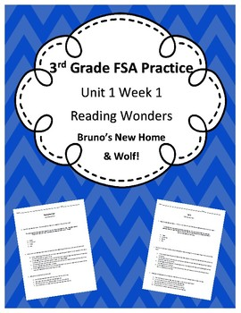 3rd Grade FSA Prep- Reading Wonders Quizzes- Unit 1 Week 1 BUNDLE