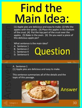 3rd Grade FSA Test Prep Main Idea and Text Evidence Game - Reading