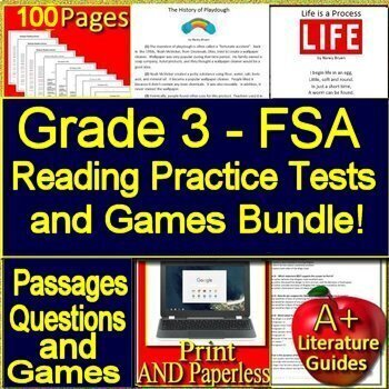 3rd Grade FSA Test Prep Reading Practice Tests and Games Bundle!