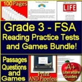 3rd Grade FSA Test Prep Reading Practice Tests and Games Bundle! 2019 Test Style