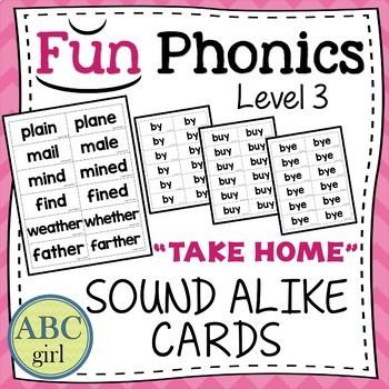 3rd Grade Fundationally FUN PHONICS Level 3 Take Home Sound Alike Cards