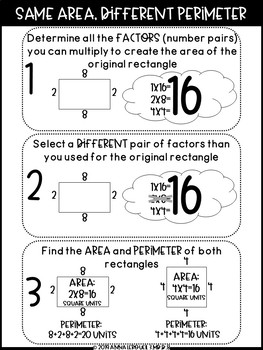 3rd Grade Factor Same Area Different Perimeter Worksheets and Answer Keys