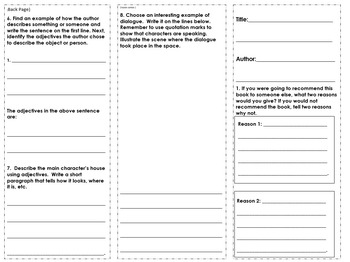3rd Grade Fiction Book Report Trifold 3