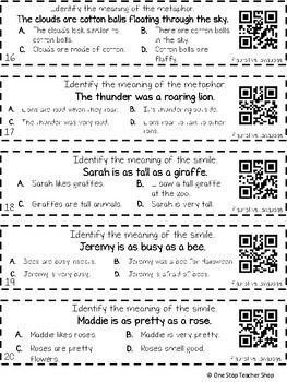 3rd Grade Figurative Language & Shades of Meaning Grammar Review   Grammar Games