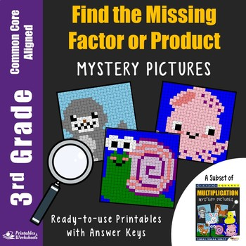 Missing Factor Multiplication Worksheets, 3rd Grade Math Station Mystery Picture