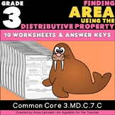 3rd Grade Finding Area Using the Distributive Property Worksheets & Answer Keys