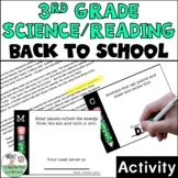 3rd Grade Reading/Science First Day of School Activity