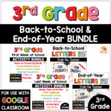 3rd Grade End of Year Activities and Back-to-School Activities & Letters BUNDLE