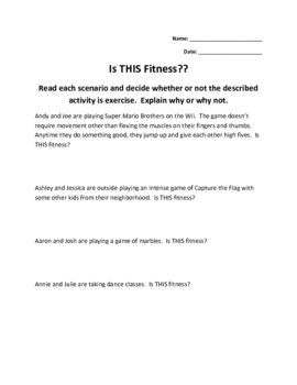 3rd Grade Fitness Health Physical Education Lesson