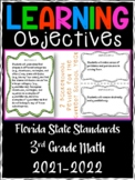 3rd Grade Florida Standards Math Learning Objective Cards | Color/ B&W