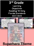 3rd Grade Florida Standards Read/ Write Learning Objective Cards Superhero/ B&W