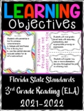 3rd Grade Florida Standards Reading/ Write Learning Objective Cards| Color / B&W