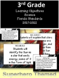 3rd Grade Florida Standards Science Learning Objective Cards | Superhero & B&W