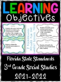 3rd Grade Florida Standards Social Studies Learning Objective Cards | Color/ B&W