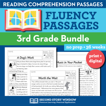 3rd Grade Fluency Homework Bundle • Reading Comprehension Passages and Questions