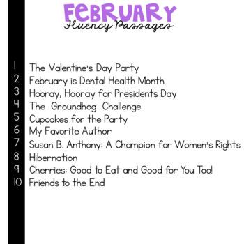 3rd Grade Fluency Passages for February