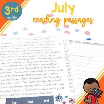 3rd Grade Fluency Passages for July