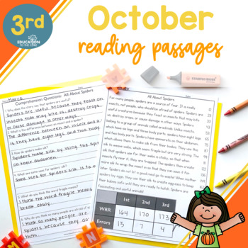 3rd Grade Fluency Passages for October