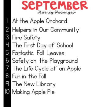 3rd Grade Fluency Passages for September
