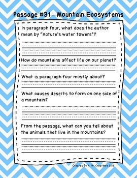 3rd Grade Fluency Passages with Comprehension Questions Set D (#31-33)